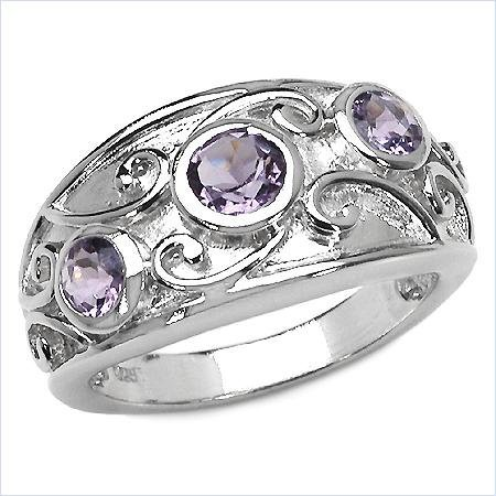 23A: 1.00 Carat Amethyst Rounds Sterling Silver Ring