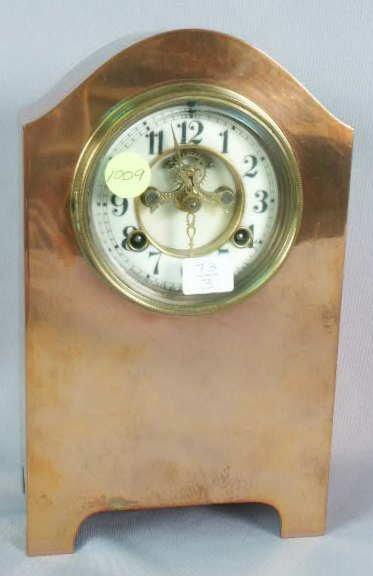 1009: Waterbury Clock in Brass & Copper Case T&S NR