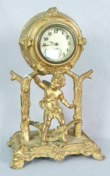 1013: Figural Metal Clock Made by the Art Metal NR