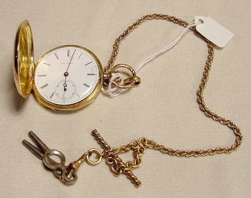 1014: Jules Huguenin Locle KW Enamel Pocket Watch NR