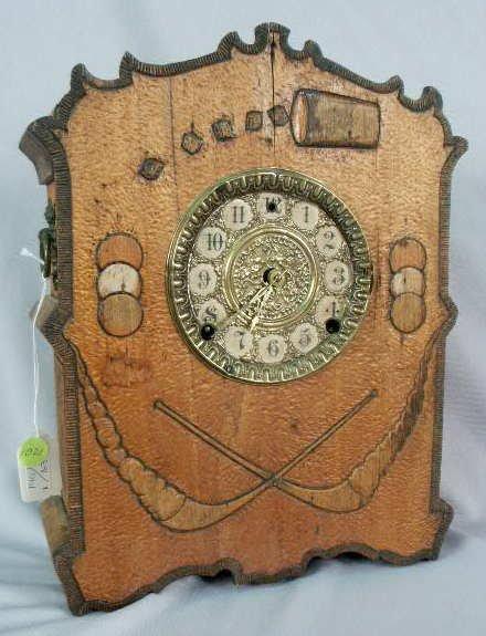 1021: Gilbert Folk Art-type Burnt Wood Clock NR