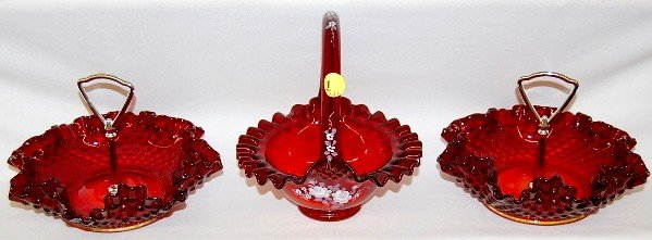 1: 3 Fenton Ruby Glass Basket & Candy Dishes