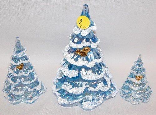 3: 3 Fenton Ice Blue Christmas Trees w/Squirrels