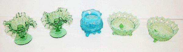 5: 5pc. Green & Blue Opalescent Glass