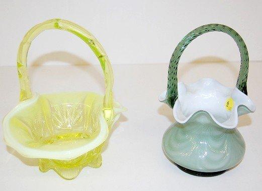 6: 2 Fenton Glass Baskets: Vaseline & Green Cased
