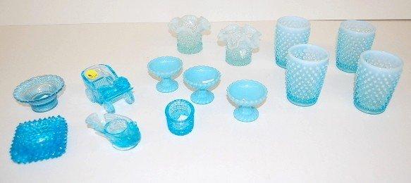 8: 14pc. Blue Opalescent & Blue Glass & Salt Dips