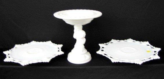 15A: 3 Milk Glass Items: Cherub Compote & Cake Stands