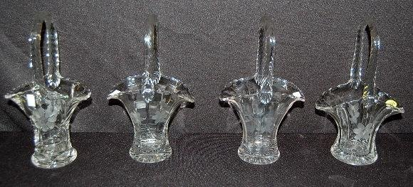 16: Group of 4 Wheel Cut Glass Baskets, Floral
