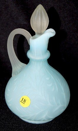 18: Blue Satin Opalescent Fern Cruet