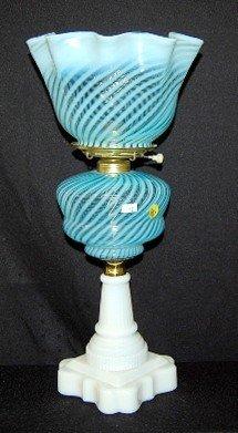 162: Blue Opalescent & Milk Glass Lamp