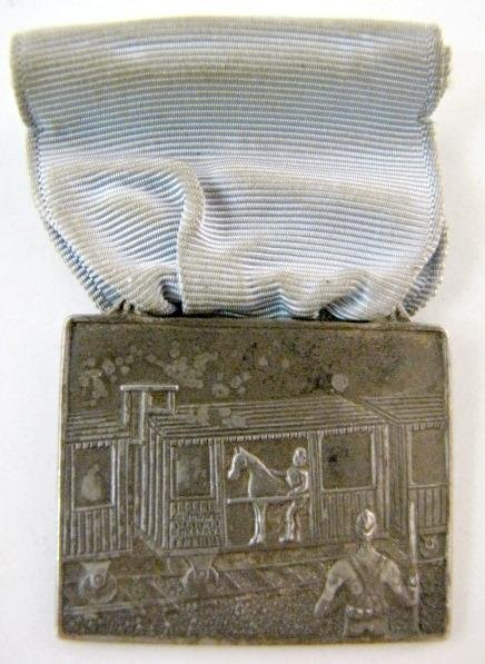 1: Sterling Union Made Watch Fob/Medal w/Blue Ribbon