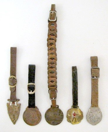 16: Group of 5 Vintage Watch Fob w/Leather Straps