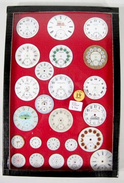 19: Group of 24 Pocket Watch Dials: Railroad & Other