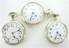 340: 3 South Bend 16S OF LS SBB Pocket Watches