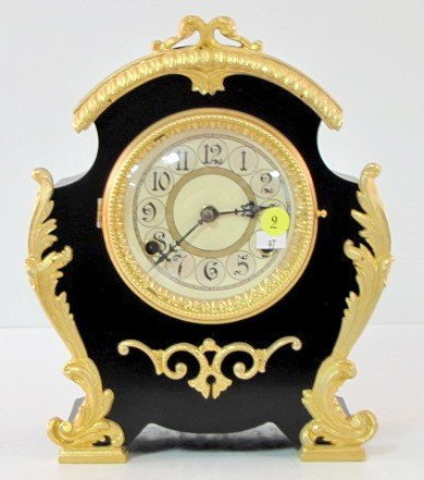 9: New Haven Enameled Iron Mantle Clock