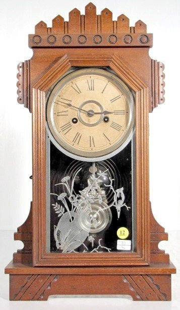 12: Ansonia Werra Walnut Mantle Clock