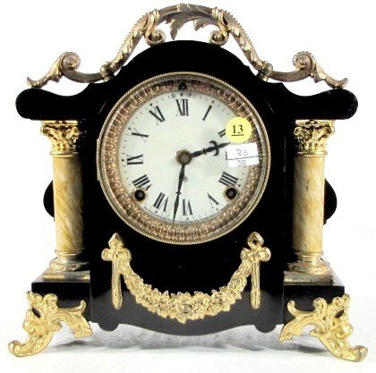 13: Ansonia Enameled Iron Mantle Clock