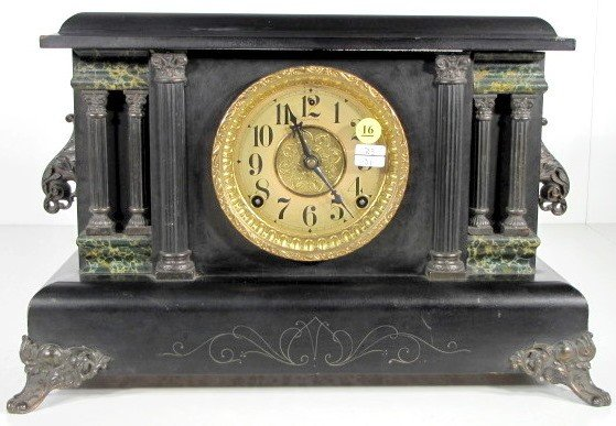16: Sessions Ebonized Wood Mantle Clock