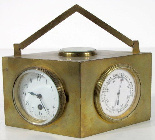 22: Diamond Shaped Brass Multi-Funciton Desk Clock
