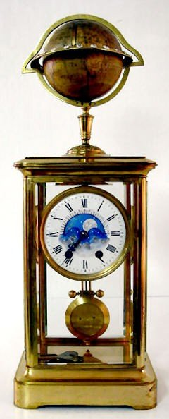 174: French Crystal Regulator w/Calendar & Anim. Globe