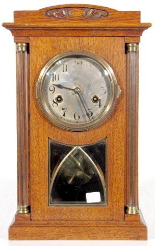 5: Oak Mantle Clock with Glass Columns