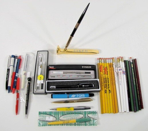 6: 33 Assorted Railroad & Related Pens & Pencils