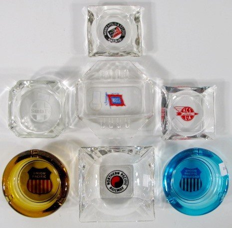 14: 7 Glass Railroad Ashtrays