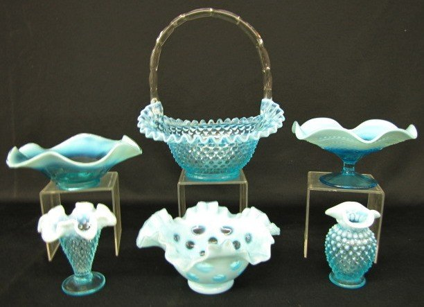 1: Group of 6 Blue Opalescent Items