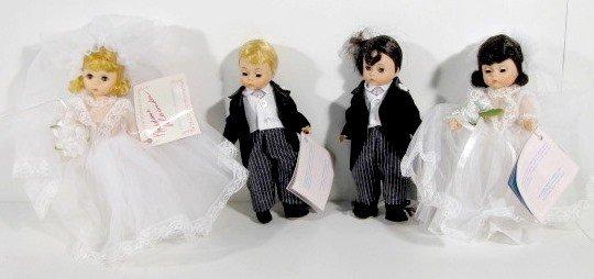 4: 2 Pairs Madame Alexander Bride & Groom Dolls