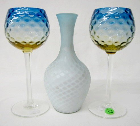 13: 2 Blurina Goblets & 1 Mother of Pearl Vase