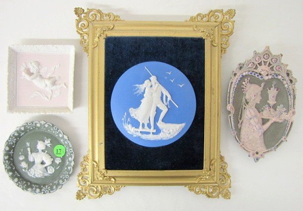 17: Group of 4 Jasperware Plaques: Pink, Green & Blue
