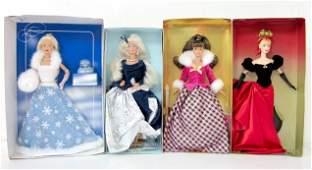 30 4 Mattel Barbies Winter Dolls