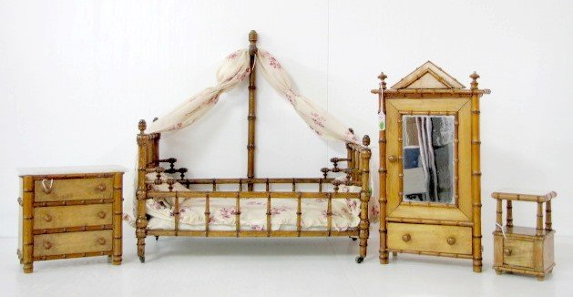 224: 4 Pc Victorian Turned Bamboo Doll Bedroom Set