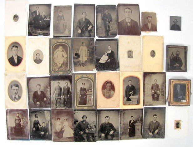 2: Group of 31 Small Tin Types w/Common People