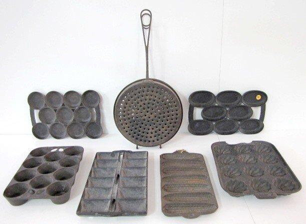 10: 6 Cast Iron Muffin Pans & 1 Tin Cooker