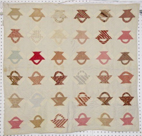 12: Vintage Hand Sewn Baby Sized Basket Quilt