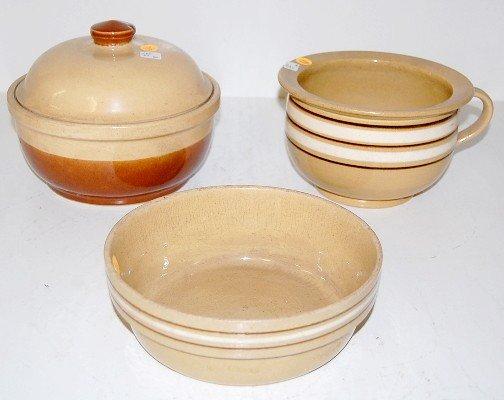 13: 3 Stoneware Items: Cooker, Bowl & Chamber Pot