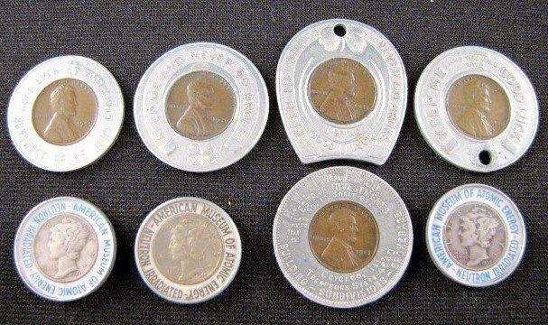 13A: 8 Encased U.S. Souvenir Coins, Dimes & Pennies