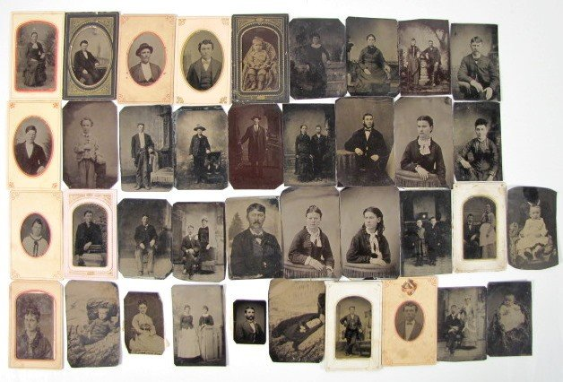 14: Group of 39 Small Tin Types w/Common People