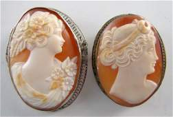 18: 2 Cameo Carved Shell Brooches: 14K Gold & Other