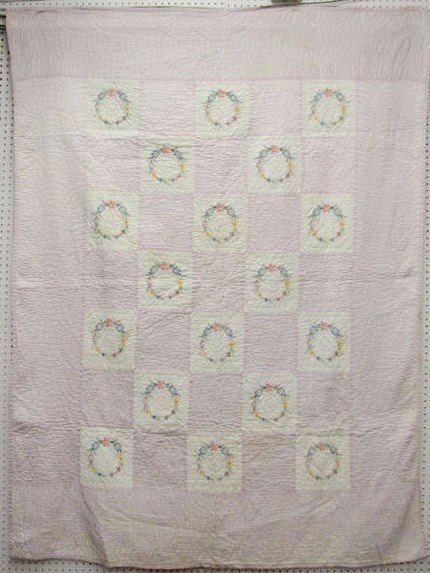 20: Vintage Hand Sewn Quilt w/Crocheted Panels