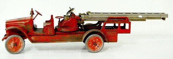 206: Buddy L Pressed Steel Toy Aerial Fire Truck