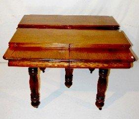 173F: Antique 5 Leg Square Oak Dining Room Table