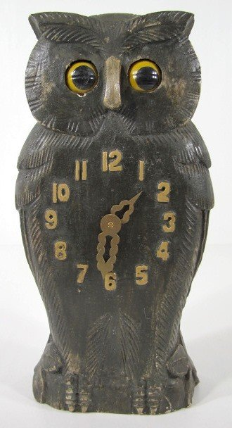 3: Carved Wood Owl Clock w/Moving Eyes