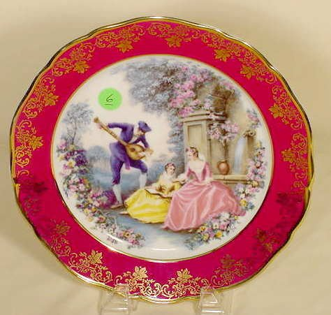 6: Limoges Courting Scene Plate - Decaled NR