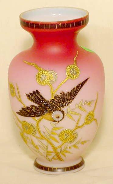 12: Rococo Art Glass Victorian Rubina Vase Signed NR