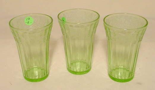 18: 8 Green Depression Glass Cherry Blossom Tumblers
