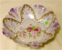 89: RS Prussia Molded & Rose Decorated Bowl NR