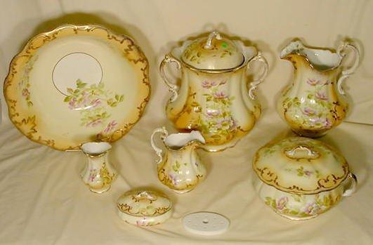 366: 7 pc W.M. Co. Semi Porcelain Wash Set NR