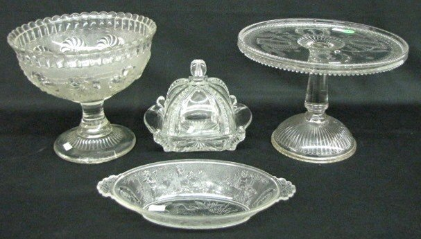 3: 4 Pieces Early American Pattern Glass